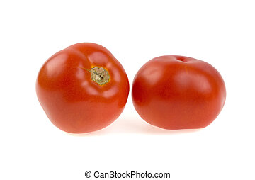 two tomatoes on a white background