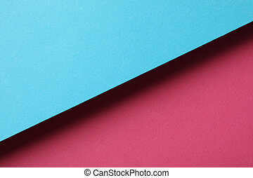 Two tone background made of sheets: blue and pink. Abstract background