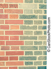 Two tone color brick wall in vintage style