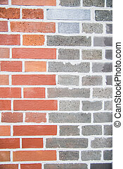 Two tone color brick wall