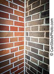 Two tone color of corner brick wall 2