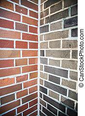 Two tone color of corner brick wall
