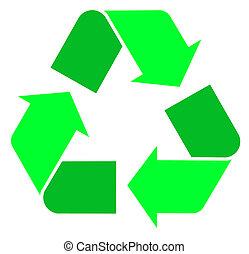 Two tone green international Recycle Symbol, illustration...