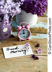 two tone Lilac flowers with Good Morning note - Two tone ...