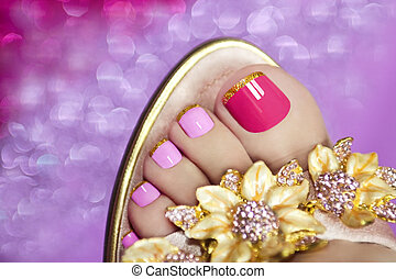 Two-tone pedicure. - Two-tone pedicure with Golden stripes...