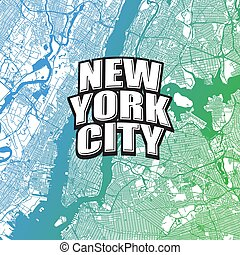 Two-toned map of New York City with Logo