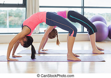 Two toned women bending over backward in fitness studio -...