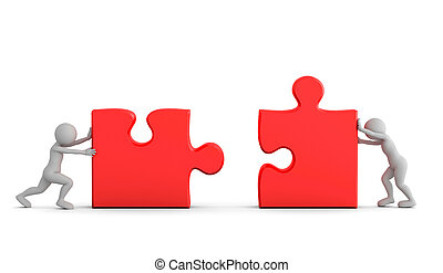Two toon men connect two puzzle pieces. Concept of business solution, teamwork