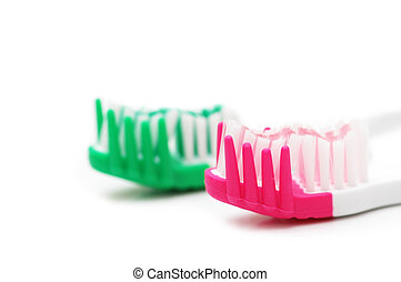 Two tooth brushes isolated on the white