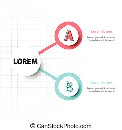 Two topics of Colorful 3d paper circle on grid for website presentation cover poster vector design infographic illustration concept
