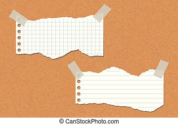 Two torn lined and square papers attached with adhesive tape to a cork board