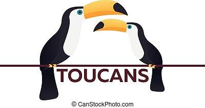 Two Toucans. Animal. Bird. Vector flat illustration.