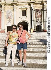 two tourist friends El Calvario Church Leon Nicaragua