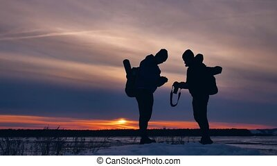 two tourists happy silhouette photograph nature travel at...