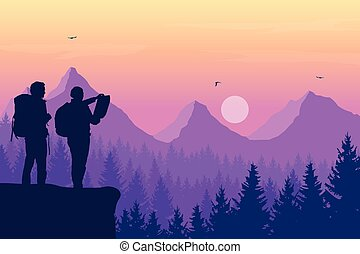 Two tourists, man and woman with backpacks standing and looking in a map on rock over mountain landscape with coniferous forest under purple sky with birds and sun