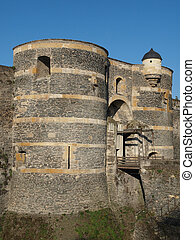 Two towers and drawbridge of the Angevine castle.