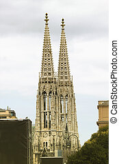 two towers of Votive church in Vienna, Austria