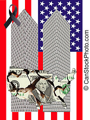 two towers - Two towers of one dollar bills with a broken ...