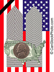 two towers - Two towers of one dollar bills with a map of ...