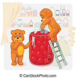 Two toy bear stealing cherry juice.