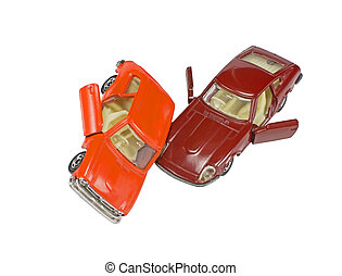 two toy cars isolated on white