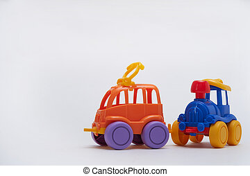 Two Toy cars on white background Copy space
