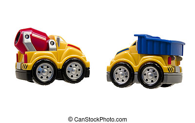 two toy trucks isolated on white
