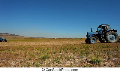 Two tractors in one field