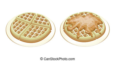 Freshly Homemade Belgian Waffles, One Plain Waffle and One with Pouring Syrup Isolated on White Background
