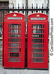 Two Traditional Red Telephone Boxes, London, England, UK