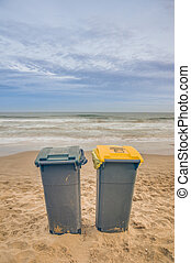Two trash cans on the beach