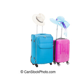 two travel case with hats isolated on white