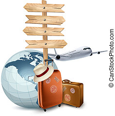 Two travel suitcases, a plane, a globe and a direction sign...
