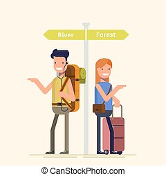 Two travelers are choosing the route next to the pointer. A guy and a girl can not decide where to spend a holiday or weekend. Difficult choice. The family during the holidays. Flat illustration.