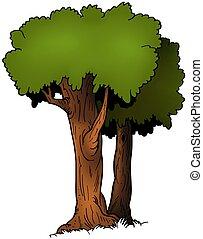 Two Trees - cartoon illustration