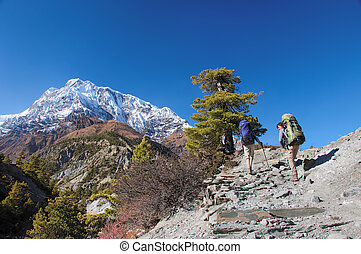 Two trekkers running on the road against Annapurna