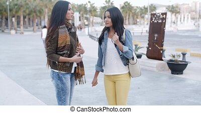 Two trendy young woman in an urban park
