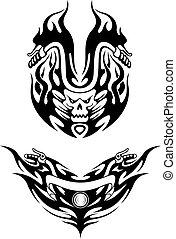 Two tribal bike tattoos