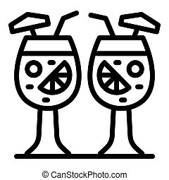 Two tropical cocktails icon, outline style