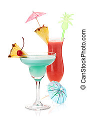 Two tropical cocktails