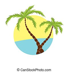 Two tropical palms on island with sea.