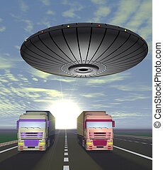 Two trucks carrying cargo are on the highway and round UFO...