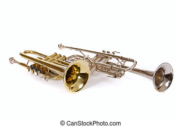 two trumpets, photo on the white background