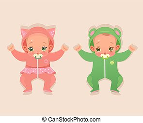Two twins baby child character. Vector flat cartoon illustration
