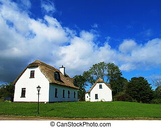 two typical House of Ireland with a clear sky was spectacular