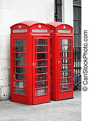 Two typical London red telephone booth