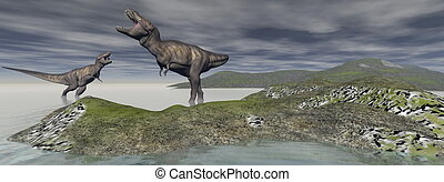 two tyrannosaure dinosaur - 3d render - two tyrannosaure...