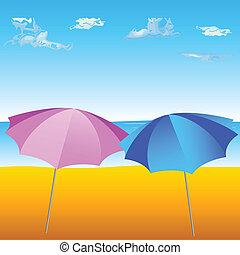 two umbrella on the beach
