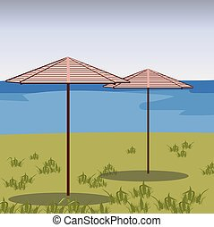 Two Umbrellas in a green field. Vector beach background....
