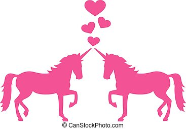 Two unicorns in love